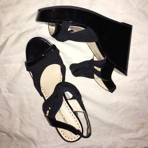 ADRIENNE VITTADINI Black Patent Leather Wedge